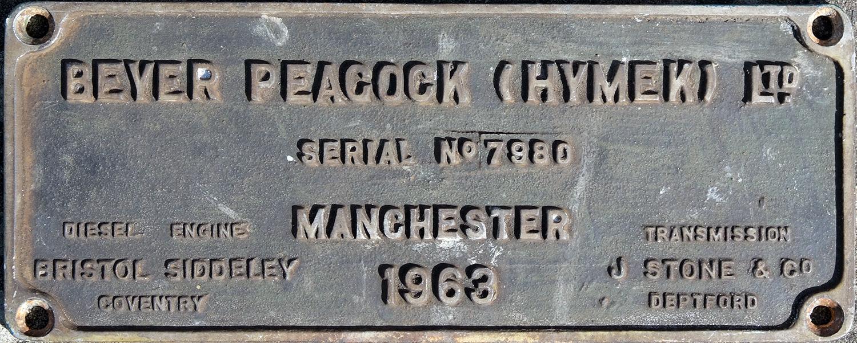 Worksplate, Beyer Peacock (Hymek) Ltd., Serial No