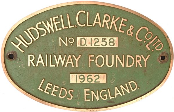 Worksplate Hudswell Clark & Co Ltd Railway Foundry