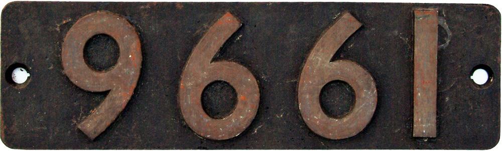 Smokebox Numberplate 9661. Ex GWR 0-6-0pt Built