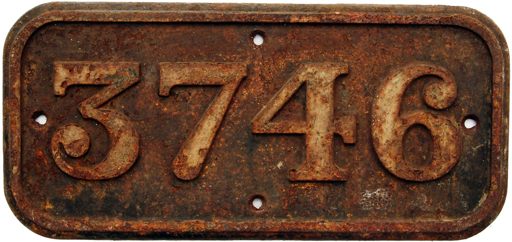Cabside Numberplate 3746. Ex GWR 0-6-0pt Built