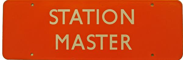 Doorplate, BR(NE) STATION MASTER, Dark Tangerine