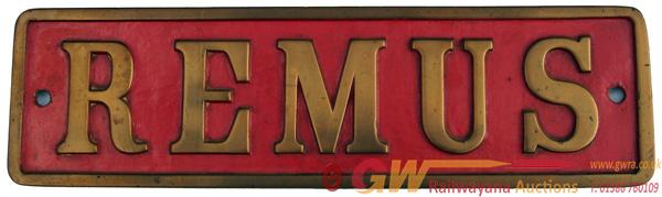 Industrial Nameplate REMUS, Ex Hudswell Clarke
