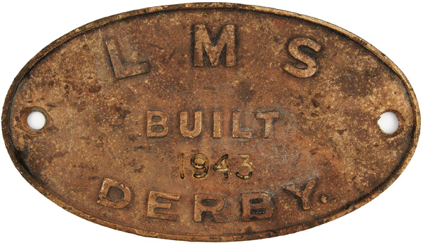 Worksplate LMS Built 1943 Derby. Oval Brass, The