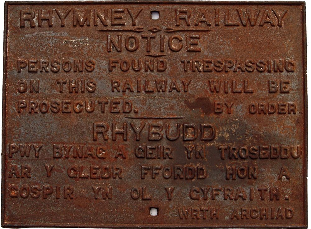 Rhymney Railway C/I,  Bi Lingual Trespass Sign,