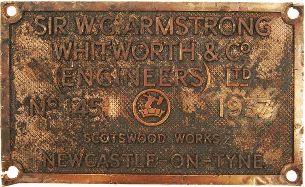 Worksplate Sir W.G. Armstrong Whitworth