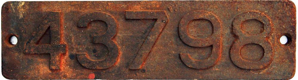 Smokebox Numberplate 43798. Ex Deeley 0-6-0 3f