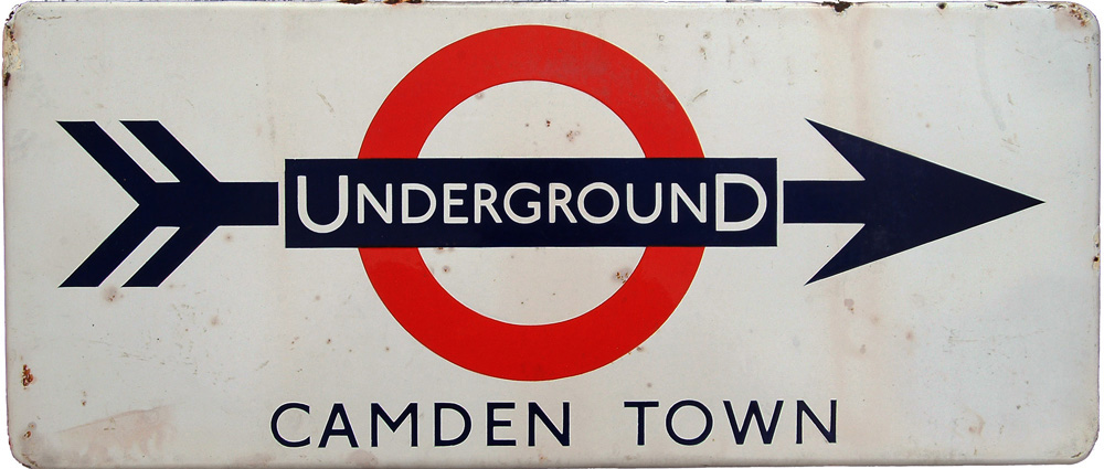 London Transport Enamel Station Direction Sign