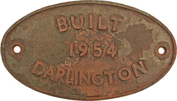 Worksplate Built Darlington 1954, Oval C/I. Ex 08