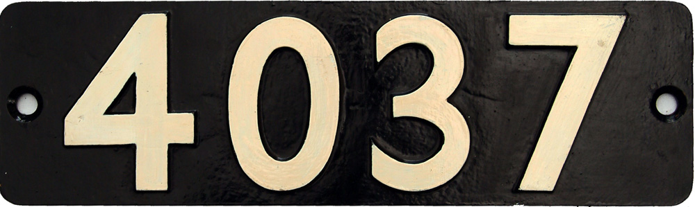 Smokebox Numberplate 4037, Ex GWR  Castle Class