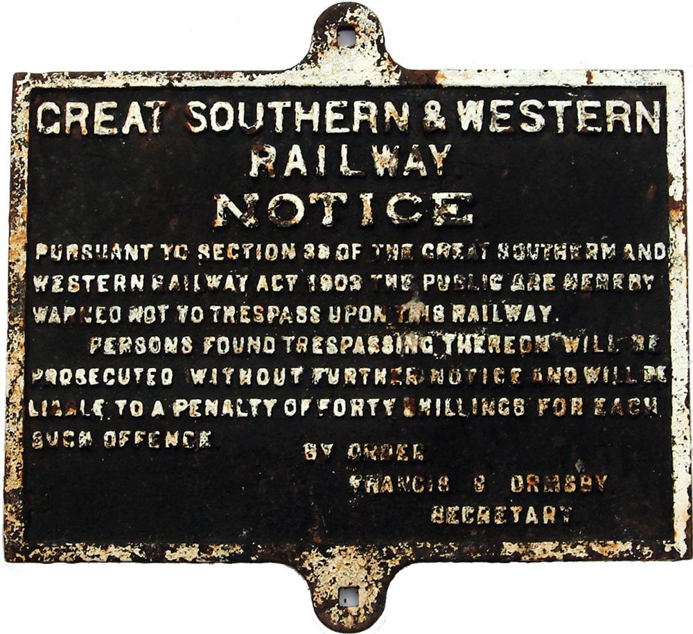 Great Southern & Western Railway C/I 40/- Trespass