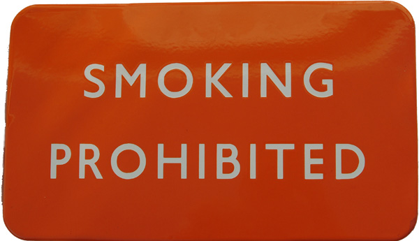 BR(NE) Enamel Sign, SMOKING PROHIBITED, F/F