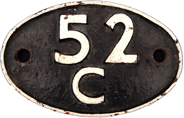 Shedplate 52c, Blaydon Until March 1965. Face