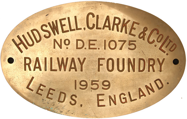 Worksplate, Hudswell Clark & Co Ltd Railway
