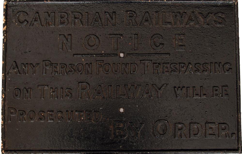 Cambrian Railways C/I Trespass Notice. Face