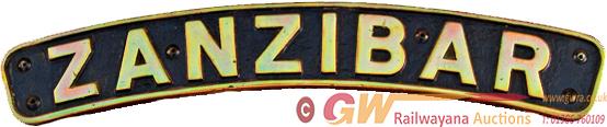 Nameplate ZANZIBAR, Ex LMS Jubilee Class