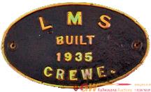 Worksplate Built Crewe 1935. Oval Cast Brass, Ex