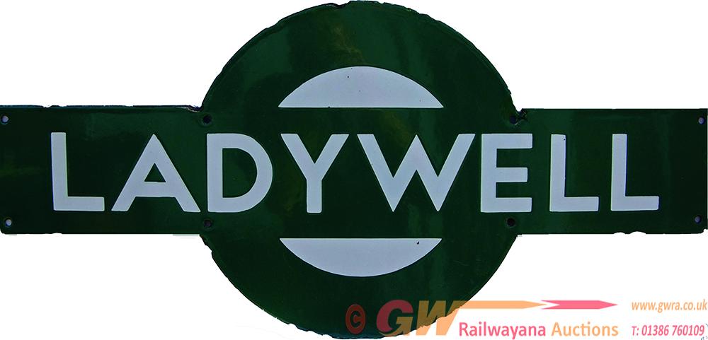 Southern Railway Enamel Target LADYWELL. Ex SECR