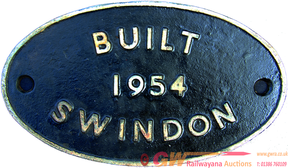 Worksplate Built Swindon 1954, C/I Construction.