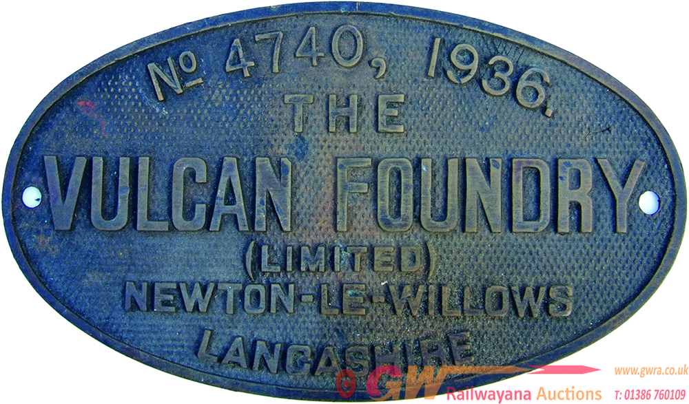Worksplate Vulcan Foundry Ltd Number 4740 Dated
