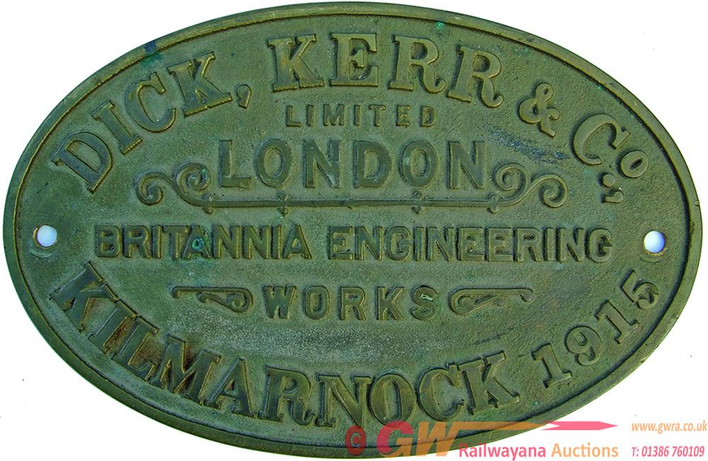 Worksplate Dick Kerr & Co Ltd London, Britannia
