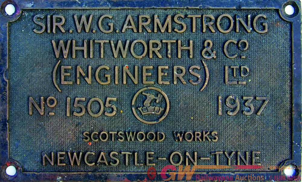 Worksplate Sir W.G. Armstrong Whitworth Number