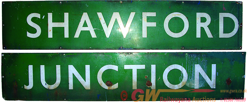 BR(S) Enamel Signal Box Sign SHAWFORD JUNCTION, In