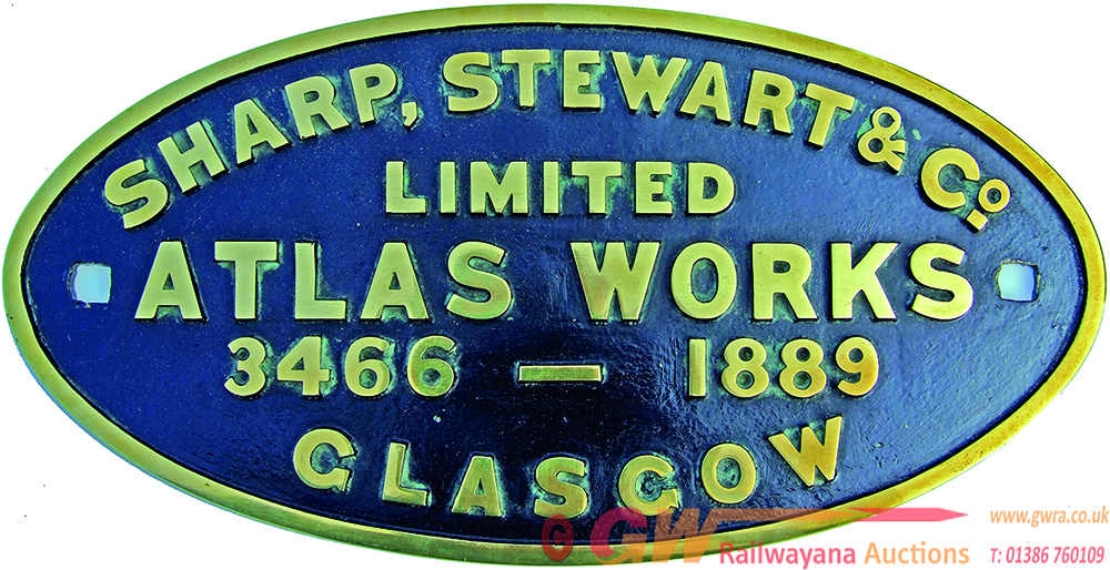 Worksplate, Oval Brass, Sharp Stewart And Co 3466