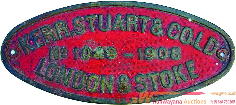 Worksplate Kerr Stuart & Co Ld No 1049 - 1908