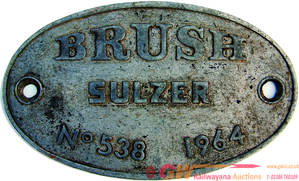 Worksplate, Brush Sulzer No 538 Dated 1964. Ex