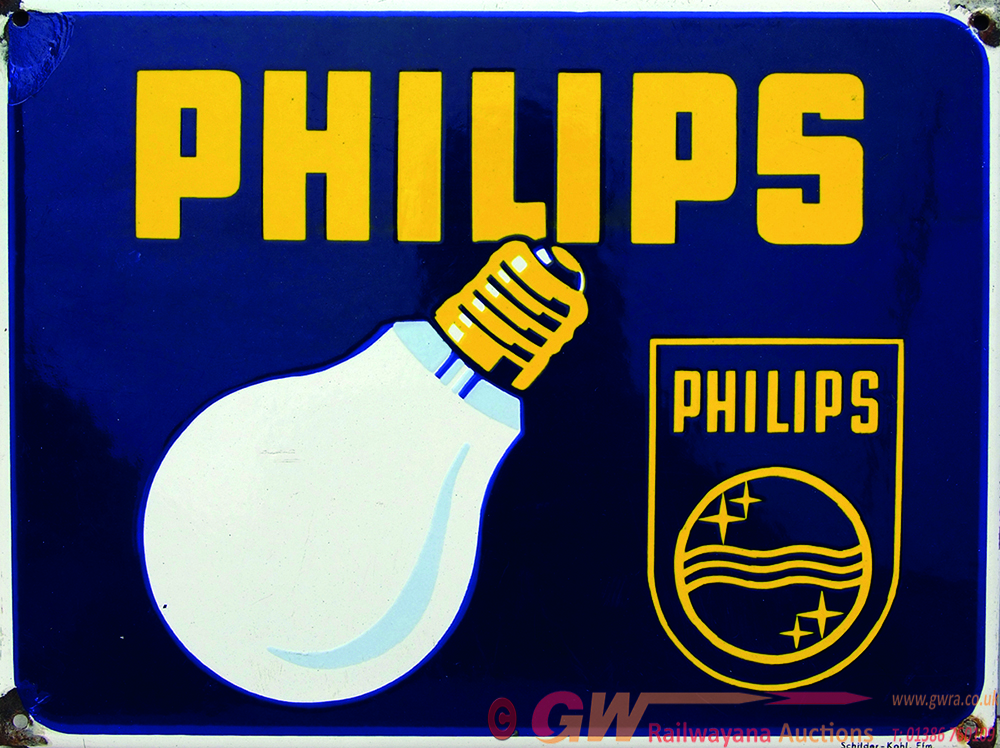 Enamel Advertising Sign 'Philips' Depicting An