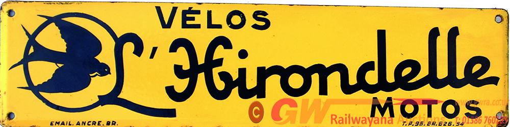 Enamel Advertising Sign 'Hirondelle Motos'