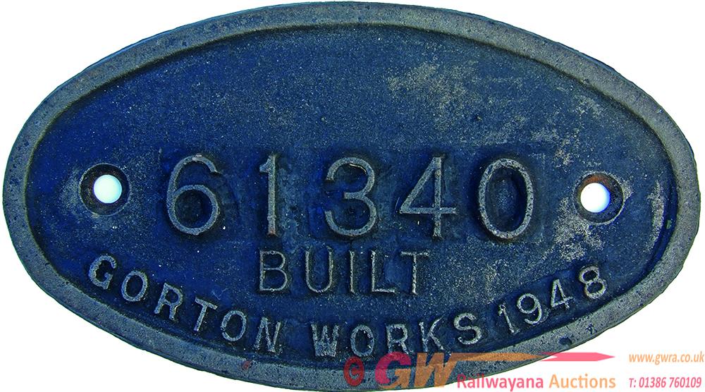 Worksplate 61340 Built Gorton Works 1948. Oval