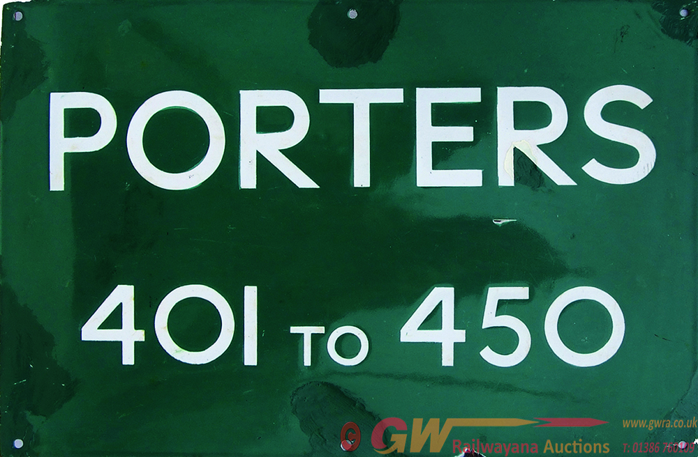 Southern Railway Enamel Sign Porters 401 To 450,