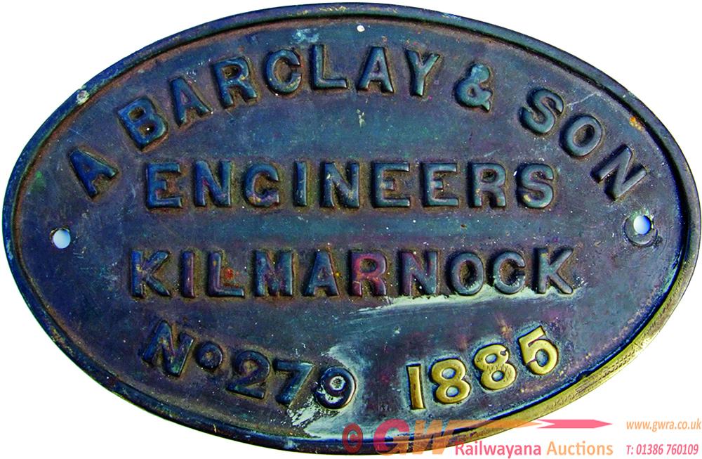 Worksplate A. Barclay Engineers Kilmarnock No 279