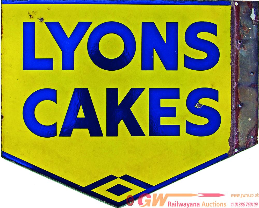 Enamel Advertising Sign Lyons Cakes Measuring 17 X