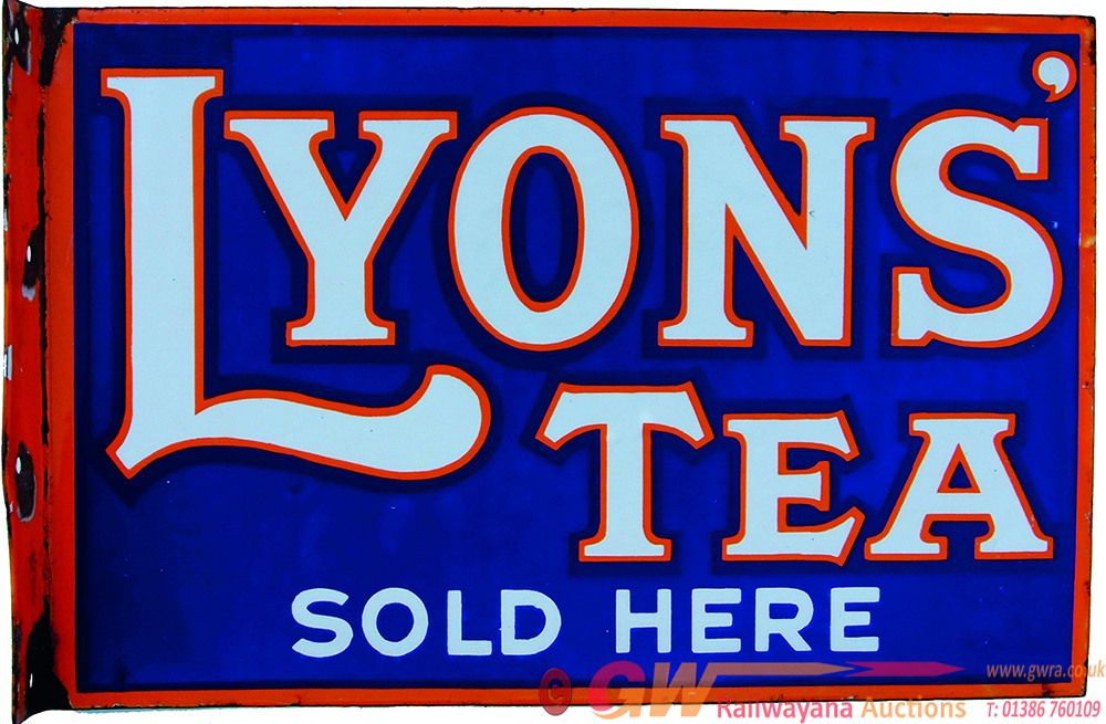 Enamel Advertising Sign Lyons Tea Sold Here