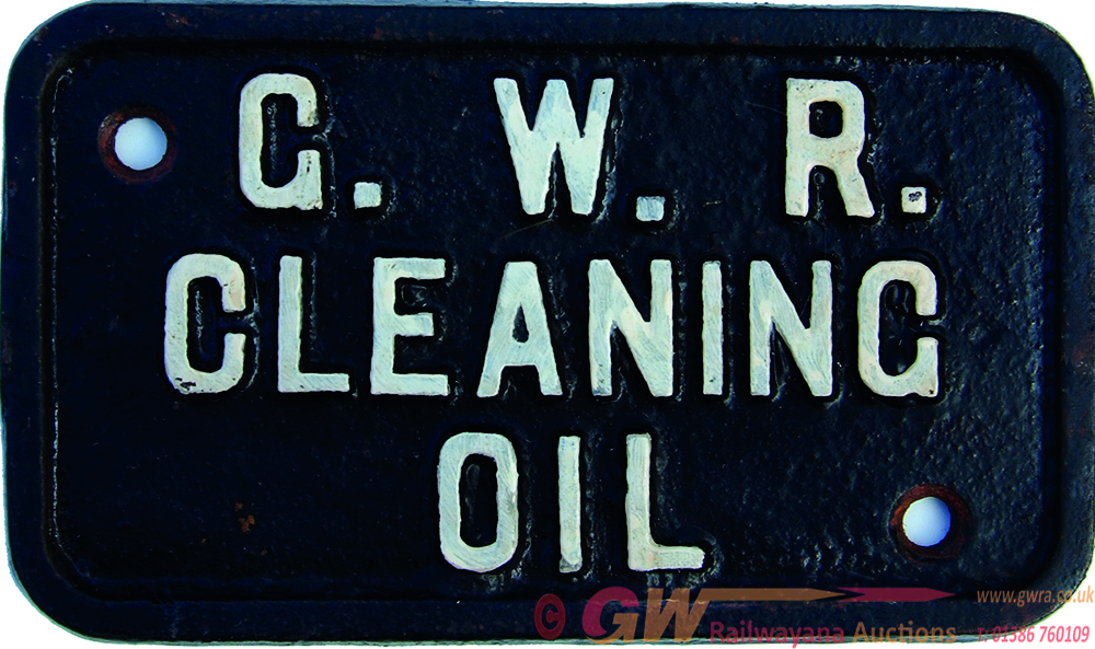 G.W.R. Cleaning Oil, Small, Cast Iron Plate As