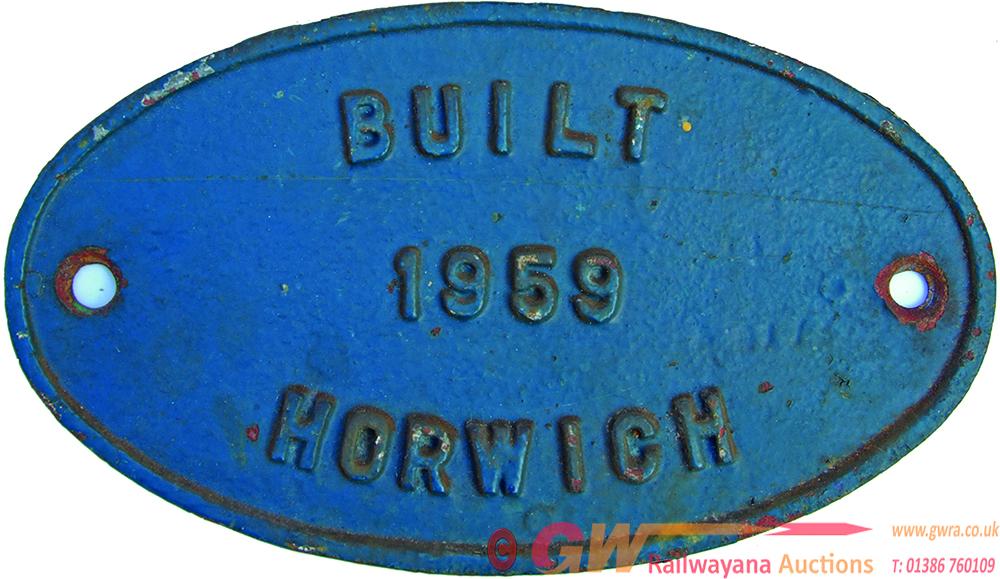 Worksplate, C/I Oval Built 1959 Horwich. Ex Diesel