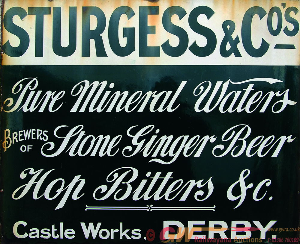 Enamel Advertising Sign Sturgess & Co Pure Mineral