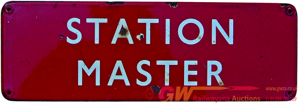 BR(M) Enamel Doorplate STATION MASTER, F/F And In