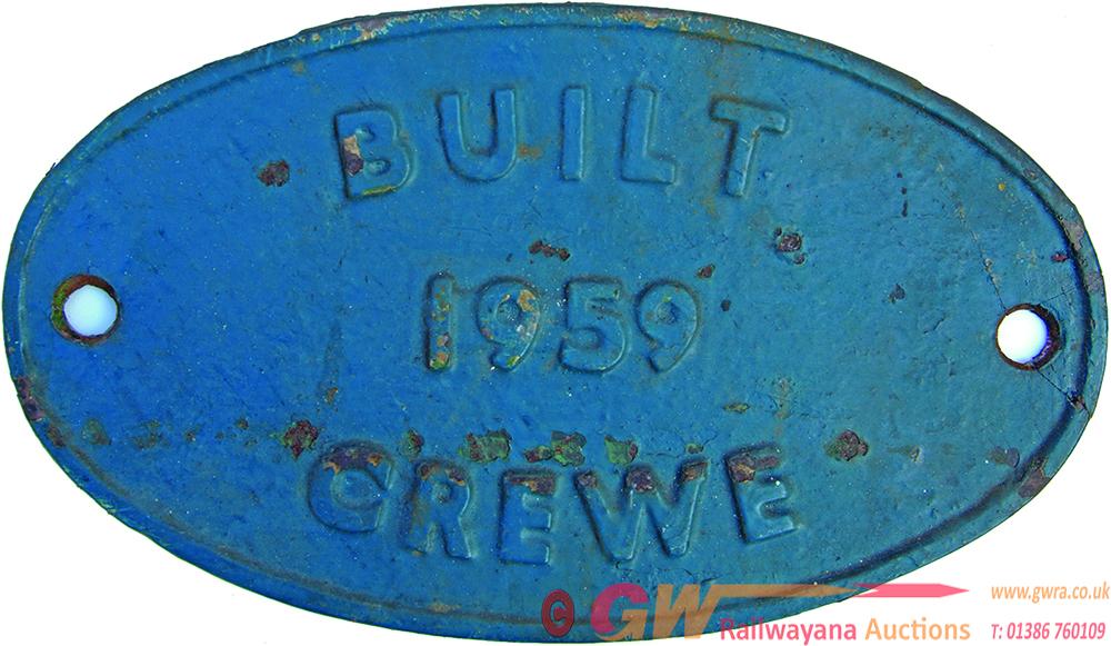 Worksplate, C/I Oval Built 1959 Crewe. Ex Diesel