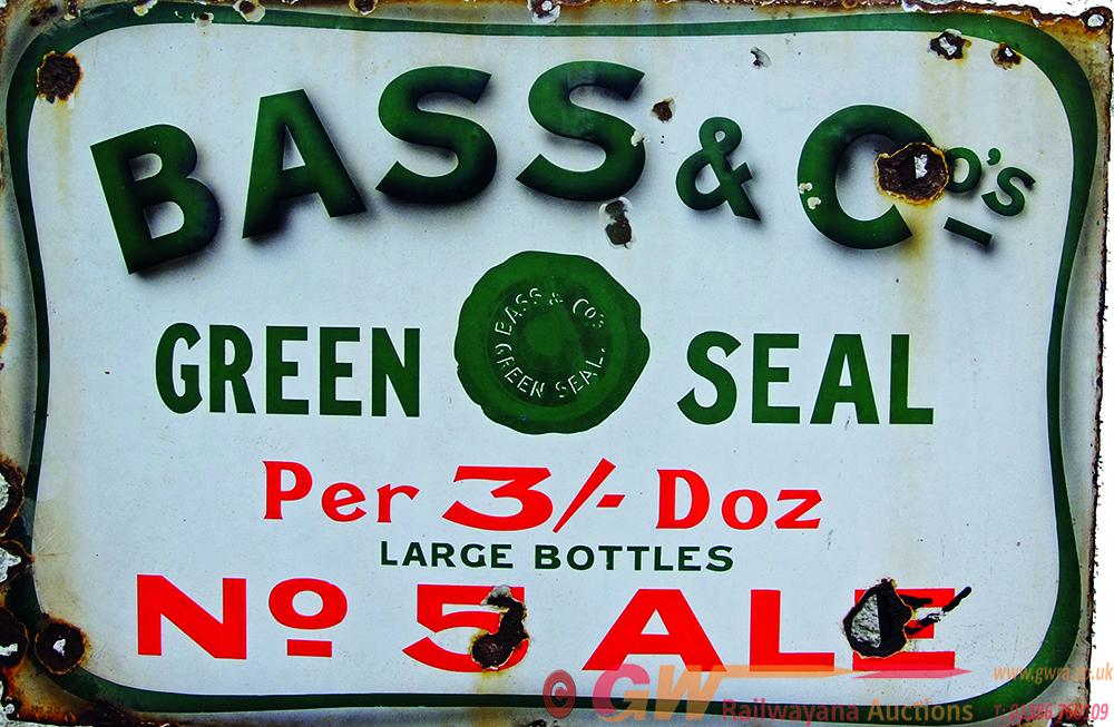 Enamel Advertising Signs X 2 Bass & Cos Green Seal
