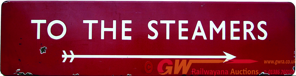 BR(M) Enamel Sign  TO THE STEAMERS, F/F With Right