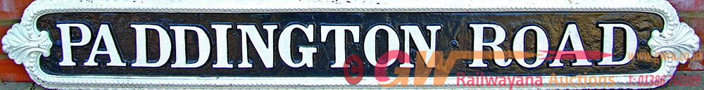 Cast Iron Street Sign PADDINGTON ROAD Measuring 61