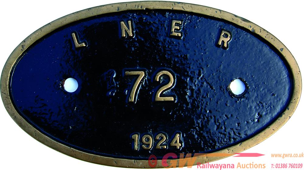 Worksplate LNER 72 Of 1924. Oval Brass, Ex LNER a3