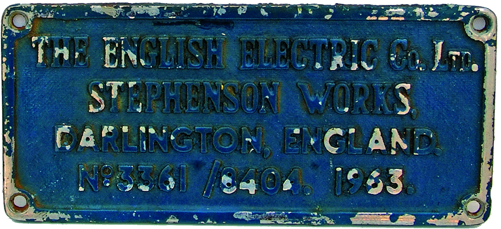 Worksplate, The English Electric Co Ltd Stephenson