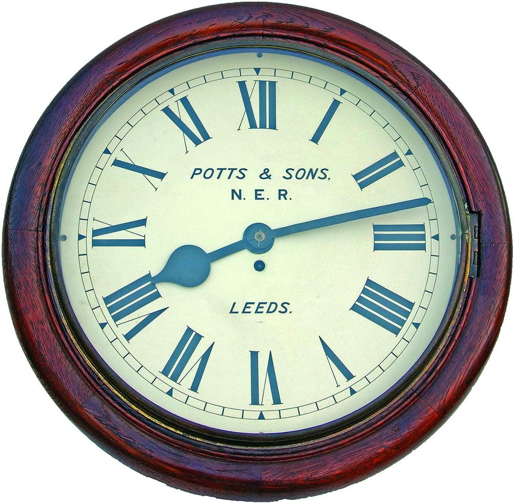 NER 18 Oak Cased, Fusee Clock By Potts & Sons,
