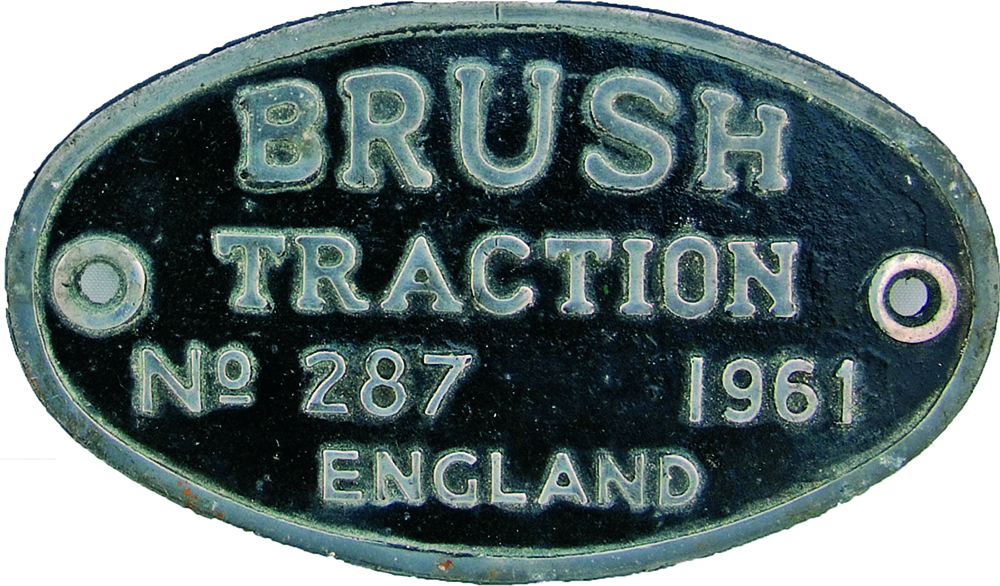 Worksplate Brush Traction No 287 Dated 1961. Ex