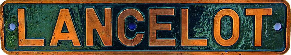 Industrial Nameplate LANCELOT, Brass Construction.