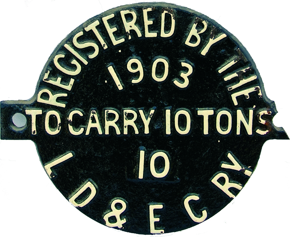 Wagon Plate Registered By The LD & EC Rly 1903 To
